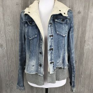 Free people distressed jean jacket hoodie small